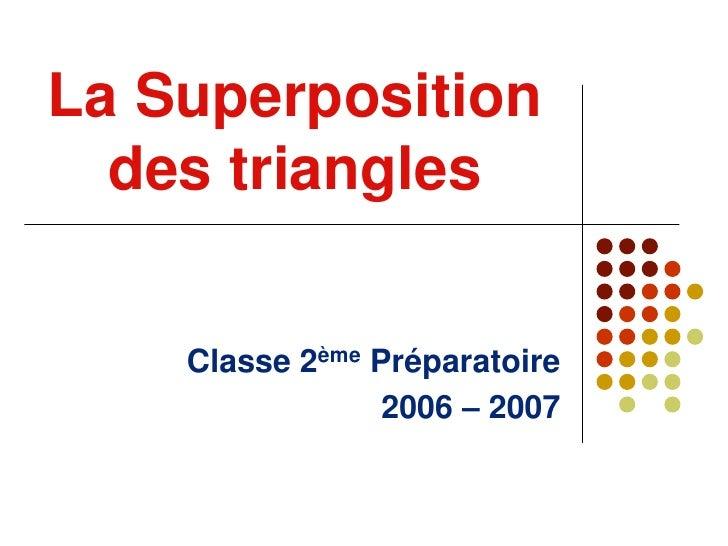 La Superposition des triangles<br />Classe 2ème Préparatoire<br />2006 – 2007<br />