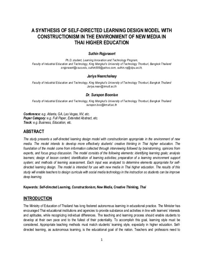 A SYNTHESIS OF SELF-DIRECTED LEARNING DESIGN MODEL WITH         CONSTRUCTIONISM IN THE ENVIRONMENT OF NEW MEDIA IN        ...