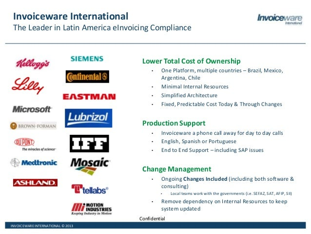INVOICEWARE INTERNATIONAL © 2013 Confidential Invoiceware International The Leader in Latin America eInvoicing Compliance ...
