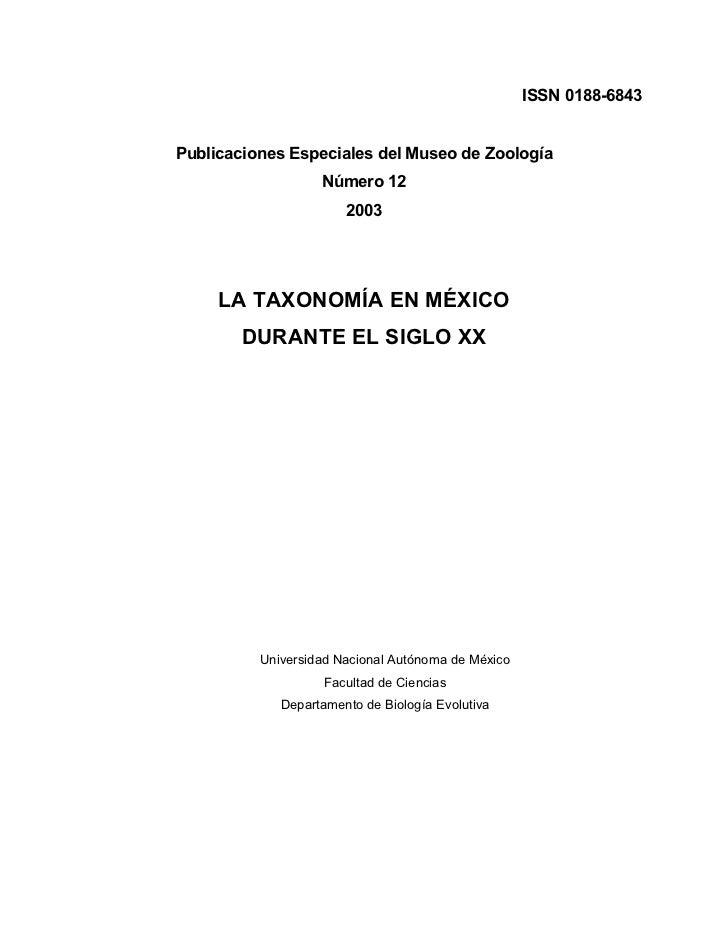 ISSN 0188-6843Publicaciones Especiales del Museo de Zoología                   Número 12                       2003     LA...