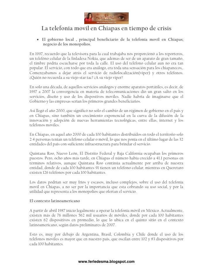 La telefonía movil en Chiapas en tiempo de crisis      El gobierno local , principal beneficiario de la telefonía movil e...