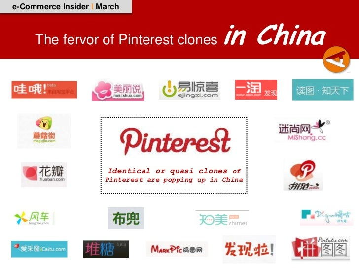 e-Commerce Insider I March     The fervor of Pinterest clones              in China                       Identical or qua...