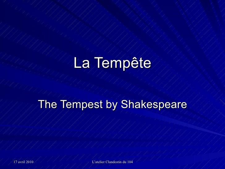 La Tempête The Tempest by Shakespeare