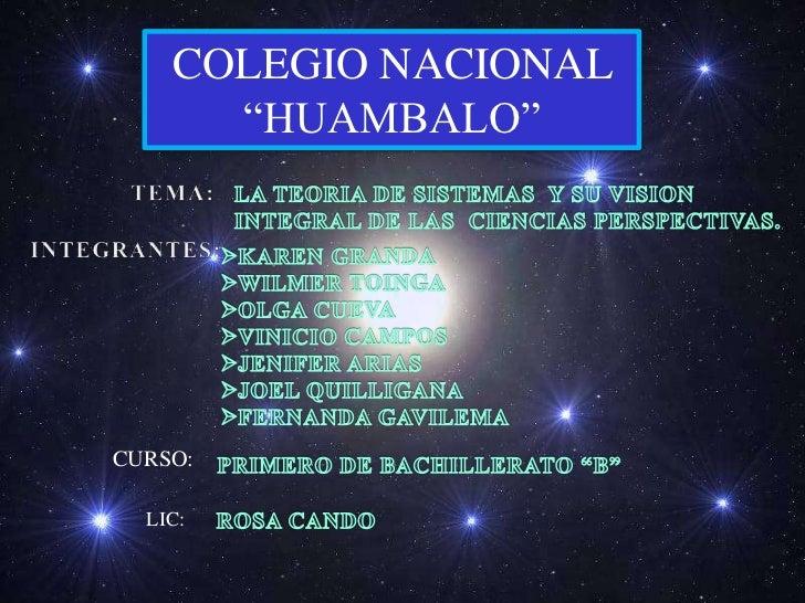 """COLEGIO NACIONAL      """"HUAMBALO""""CURSO:  LIC:"""