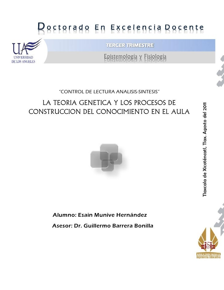 """Doctorado         En Excelencia Docente                       Epistemología y Fisiología       """"CONTROL DE LECTURA ANALISI..."""
