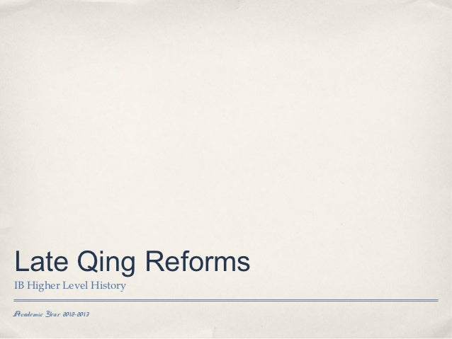 Late qing reforms