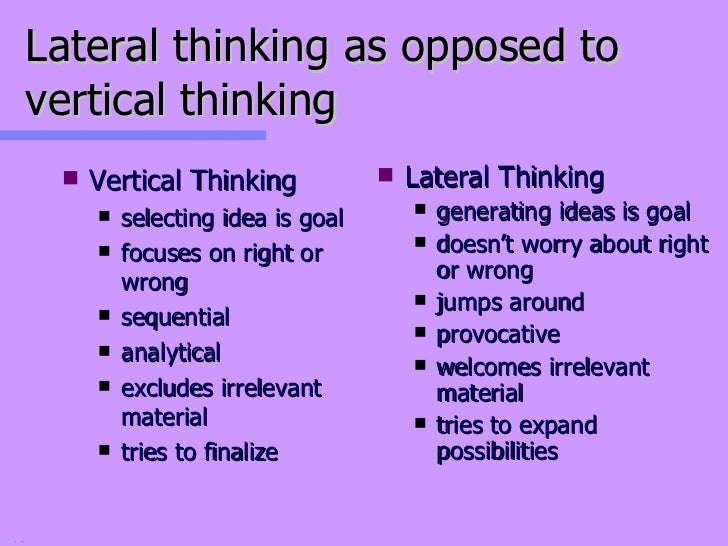 lateral and vertical thinking Traditional medical training may actually impede a physician's ability to solve complex problems because it is based on vertical, linear and traditional thinking.