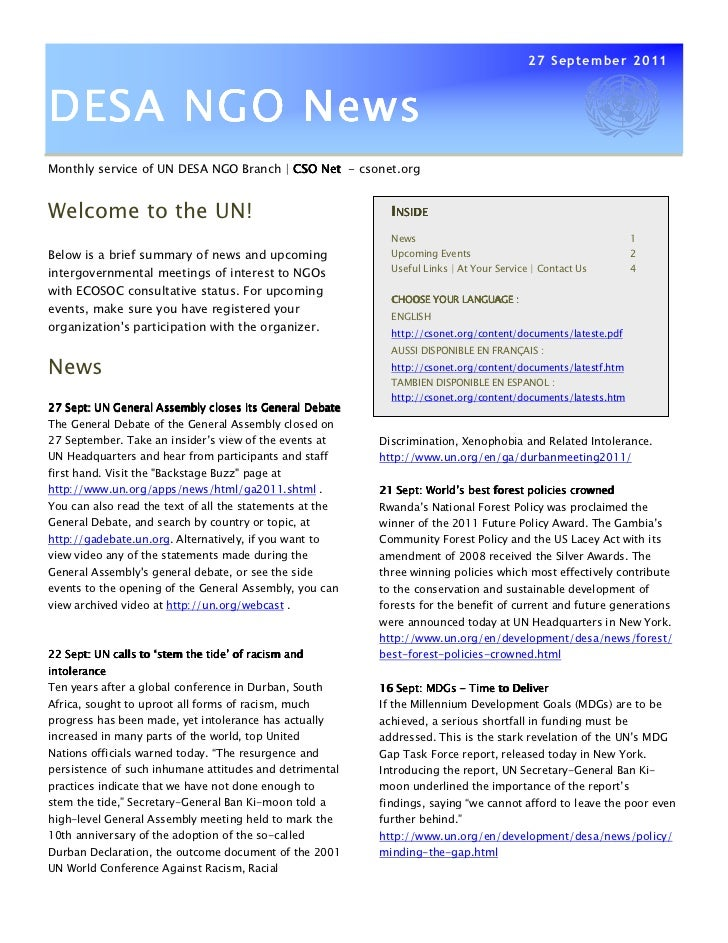 27 September 2011DESA NGO NewsMonthly service of UN DESA NGO Branch | CSO Net - csonet.orgWelcome to the UN!              ...