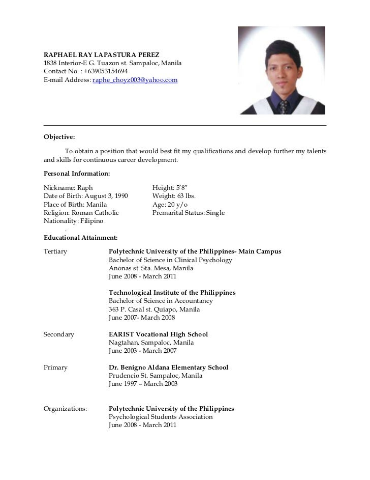 sample resume format philippines sample resume