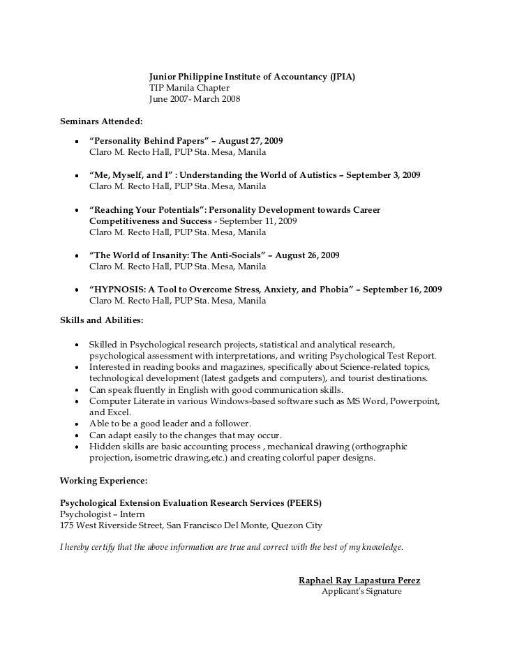 Resume for psychology majors