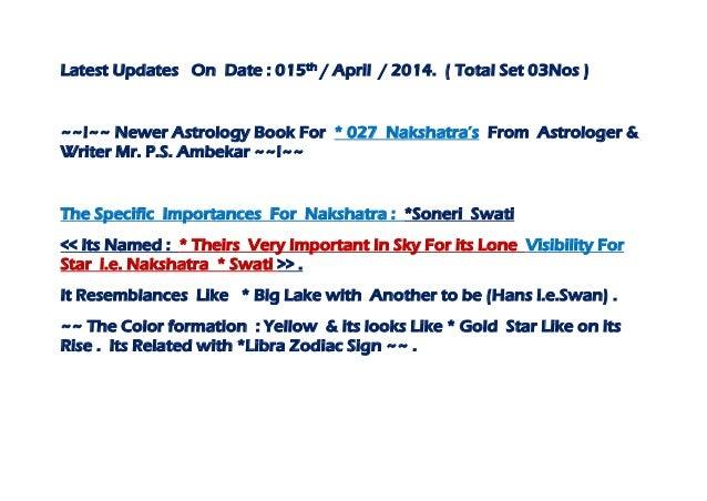 Latest up dates  ~~ the specific importances for nakshatra ^^ soneri swati ^^ ~~