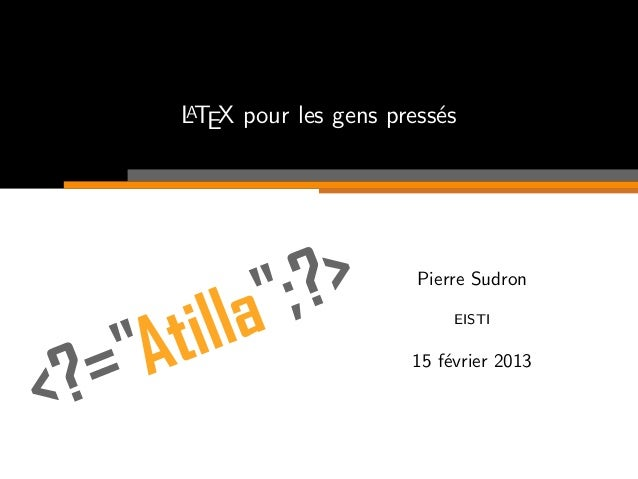 ALTEX pour les gens press´s                        e                      Pierre Sudron                          EISTI    ...