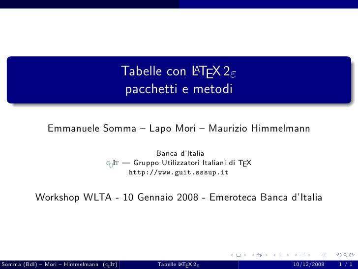 Latex Tabelle (pacchetti e metodi)