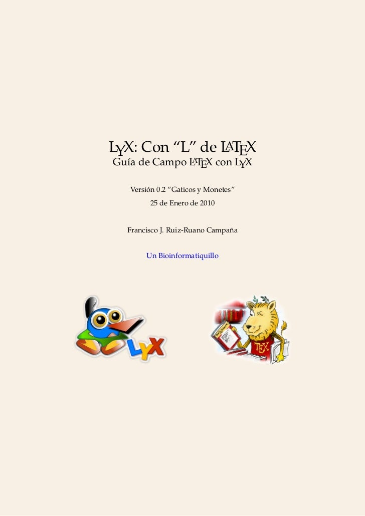 "Manual LyX: Con ""L"" de LaTeX"