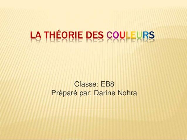 Classe: EB8 Préparé par: Darine Nohra LA THÉORIE DES COULEURS