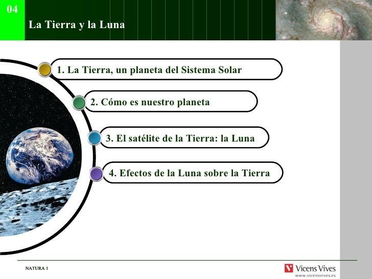 La Tierra y la Luna 4. Efectos de la Luna sobre la Tierra   3. El sat élite de la Tierra: la Luna   2. C ómo es nuestro pl...