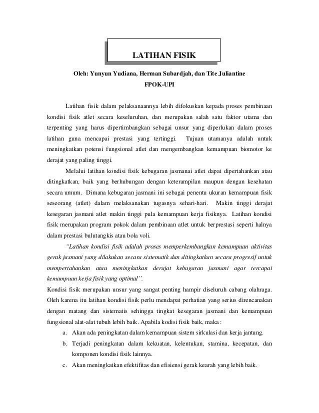 LATIHAN FISIK          Oleh: Yunyun Yudiana, Herman Subardjah, dan Tite Juliantine                                        ...