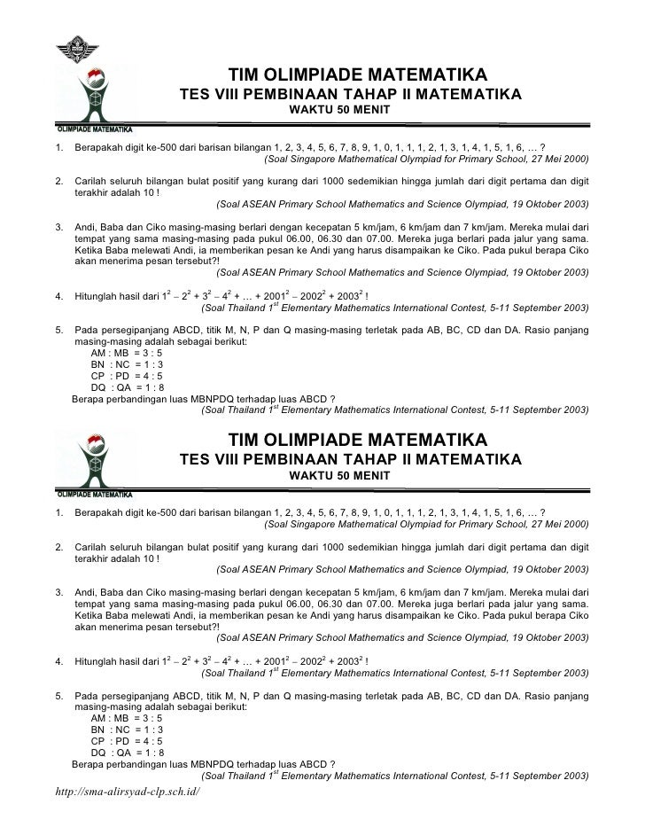 Latihan Soal Olimpiade Matematika Smp Pembinaan