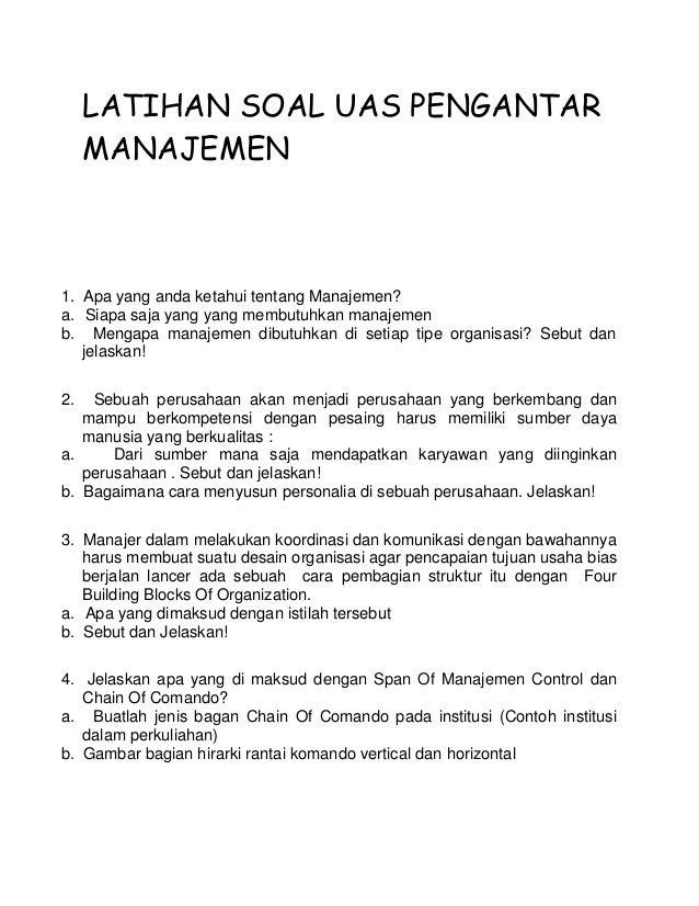 Latihan Soal Uas Pengantar Manajemen