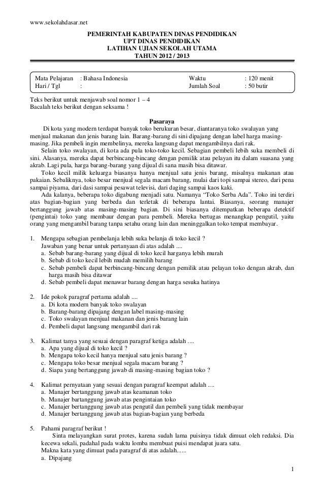 Latihan ujian sekolah dan kunci jawaban b indonesia sd
