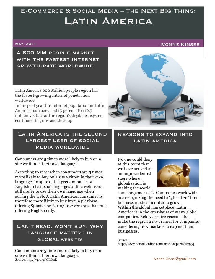 E-Commerce & Social Media – The Next Big Thing:                              Latin AmericaMay, 2011                       ...