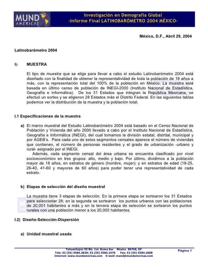 Investigación en Demografía Global                                 -Informe Final LATINOBARÓMETRO 2004 MÉXICO-            ...