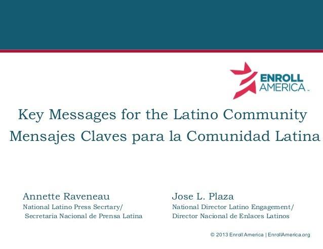 Key Messages for the Latino Community Mensajes Claves para la Comunidad Latina  Annette Raveneau  Jose L. Plaza  National ...