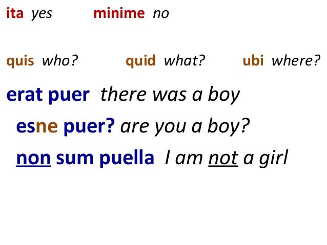 ita yes minime no quis who? quid what? ubi where? erat puer there was a boy esne puer? are you a boy? non sum puella I am ...