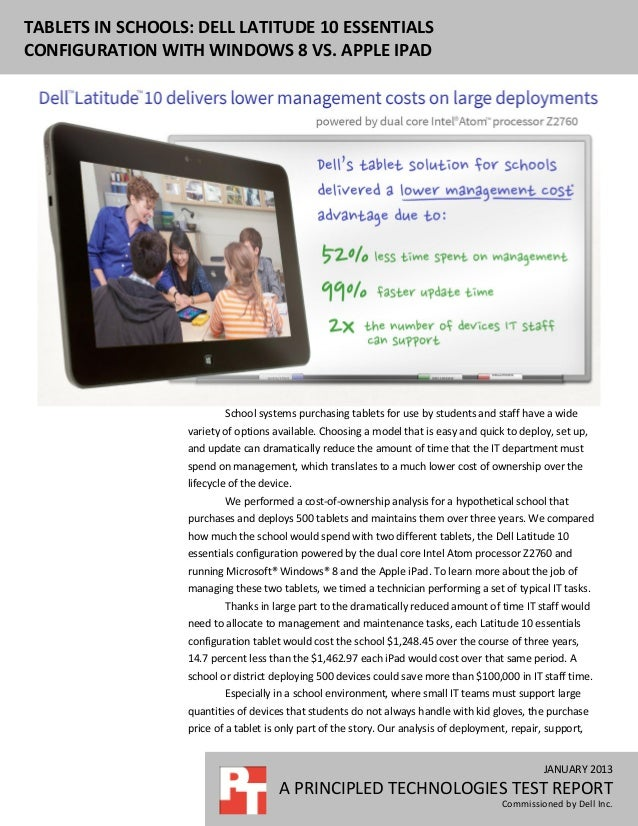 Tablets in schools: Dell Latitude 10 essentials configuration with Windows 8 vs. Apple iPad