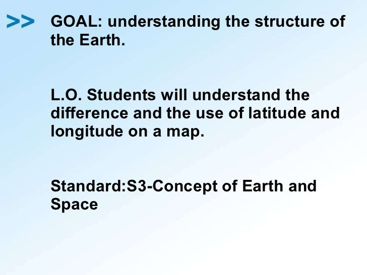 GOAL: understanding the structure of the Earth. L.O. Students will understand the difference and the use of latitude and l...