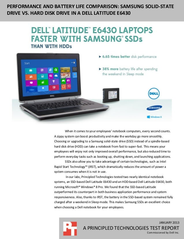 JANUARY 2013 A PRINCIPLED TECHNOLOGIES TEST REPORT Commissioned by Dell Inc. PERFORMANCE AND BATTERY LIFE COMPARISON: SAMS...