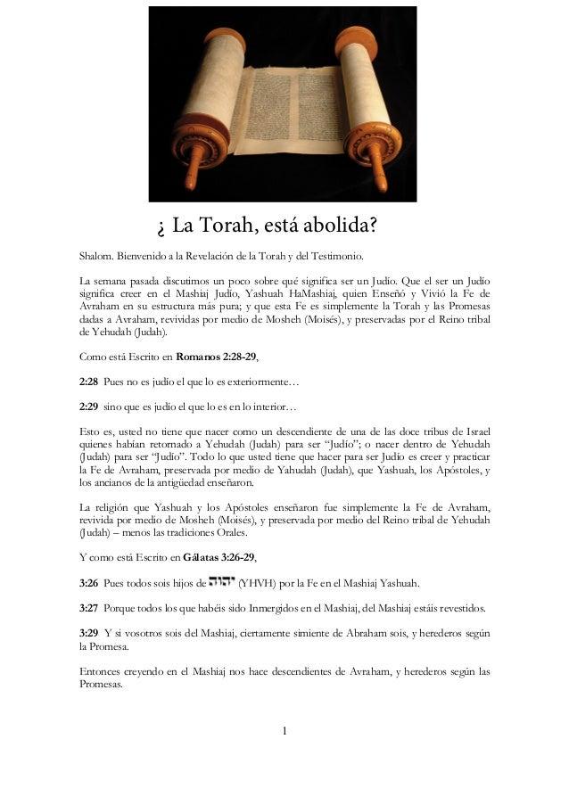 ¿La Torah esta abolida?