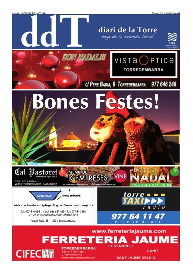 NADAL I GENER DE 2014. ANY XVI  Número 191. www.baixgaia.cat  Bones Festes!  Contenidors  orredembarra  àrids - contenidor...