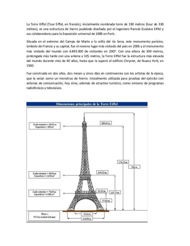 La Torre Eiffel (Tour Eiffel, en francés), inicialmente nombrada torre de 330 metros (tour de 330mètres), es una estructur...