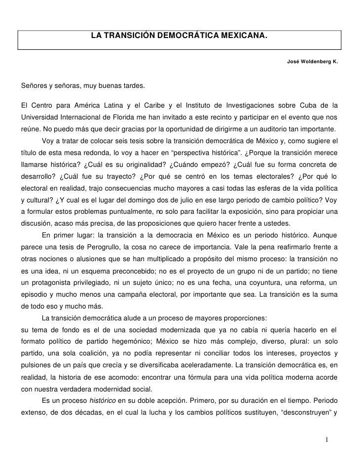 LA TRANSICIÓN DEMOCRÁTICA MEXICANA.                                                                                       ...