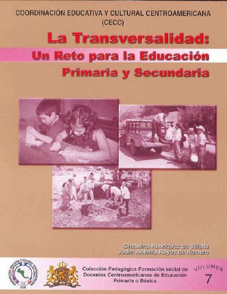 La transversalidad un reto para la educación primaria y secundaria