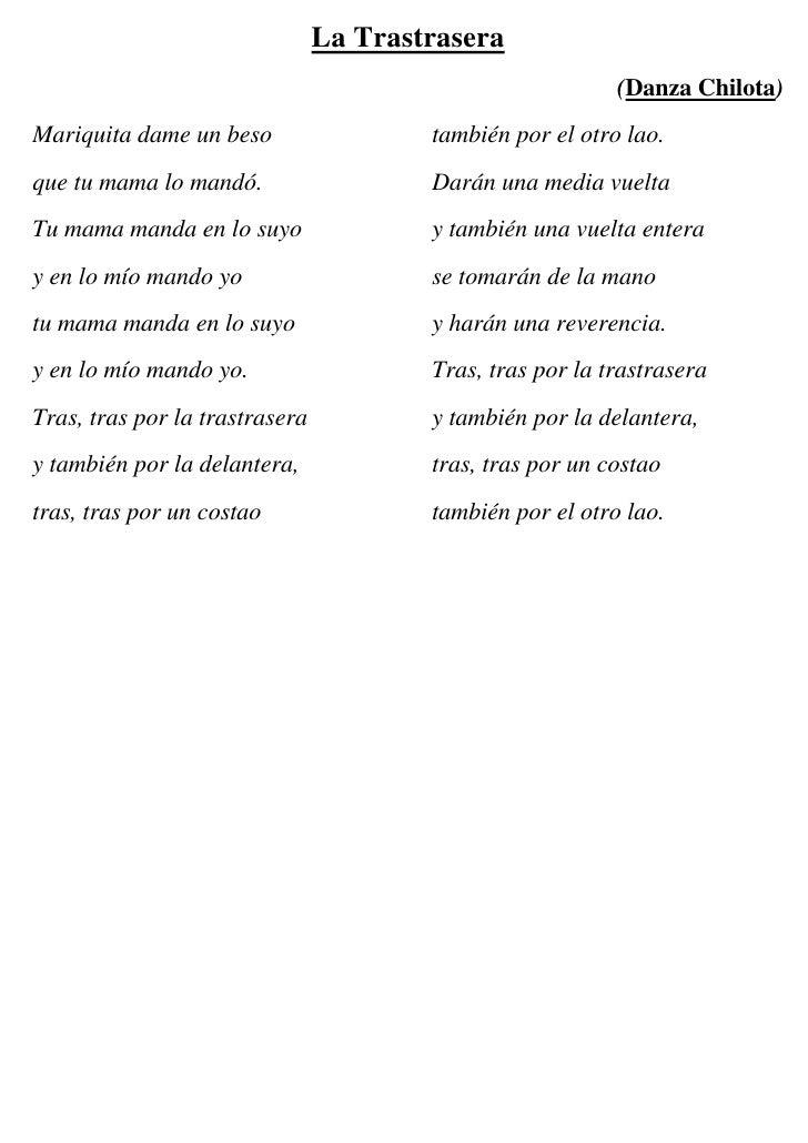 La Trastrasera                                                            (Danza Chilota) Mariquita dame un beso          ...