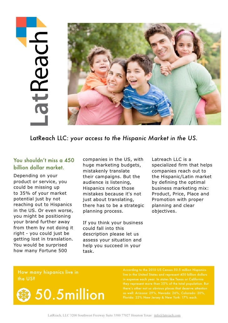 LatReach LLC: your access to the Hispanic Market in the US.You shouldn't miss a 450              companies in the US, with...
