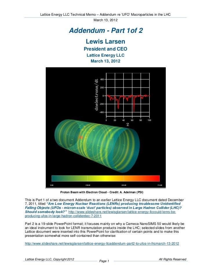 Lattice Energy LLC Technical Memo – Addendum re 'UFO' Macroparticles in the LHC                                           ...
