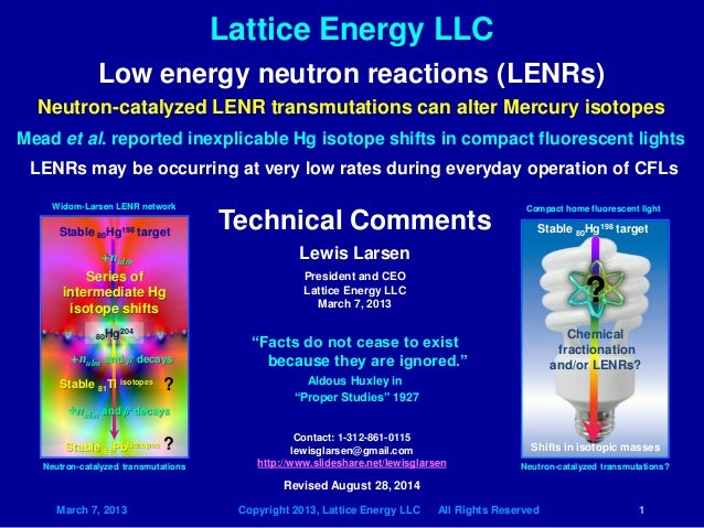 Lattice Energy LLC  March 7, 2013 Copyright 2013, Lattice Energy LLC All Rights Reserved 1  Low energy neutron reactions (...