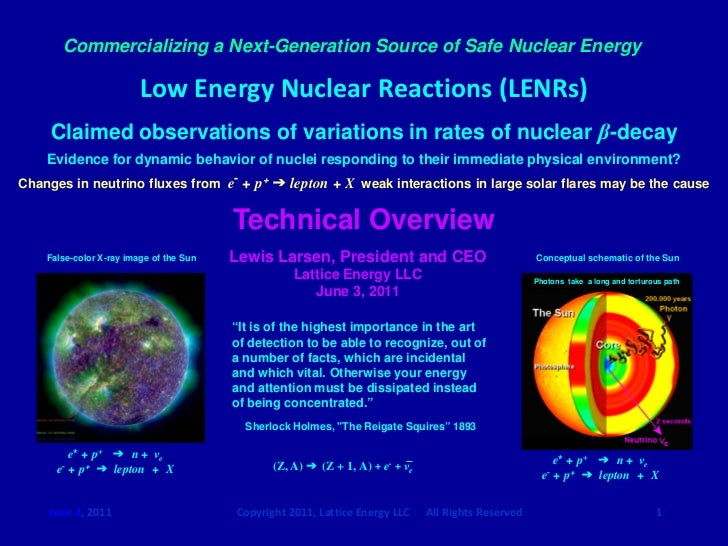Commercializing a Next-Generation Source of Safe Nuclear Energy                         Low Energy Nuclear Reactions (LENR...