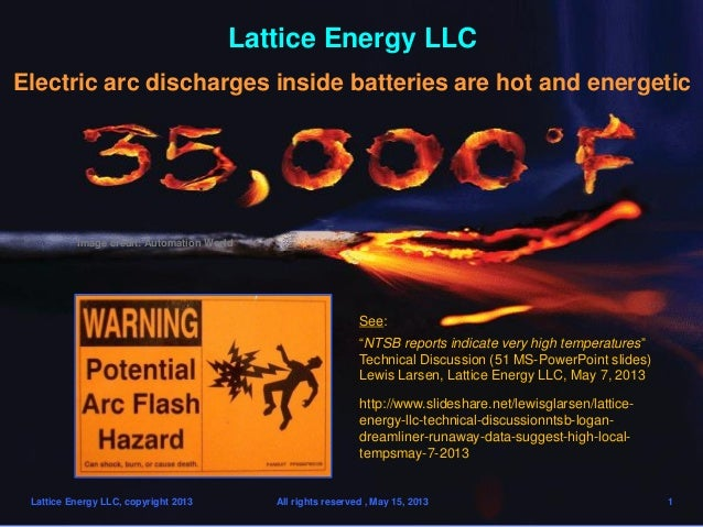 Lattice Energy LLCElectric arc discharges inside batteries are hot and energeticLattice Energy LLC, copyright 2013 All rig...