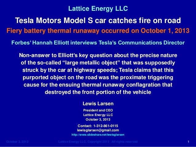 Lattice Energy LLC- Forbes-Hannah Elliott Interviews Tesla Spokesman-No Answer to Debris Question-Oct 3 2013