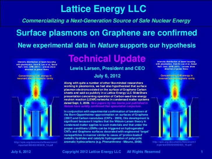 Lattice Energy LLC        Commercializing a Next-Generation Source of Safe Nuclear Energy   Surface plasmons on Graphene a...