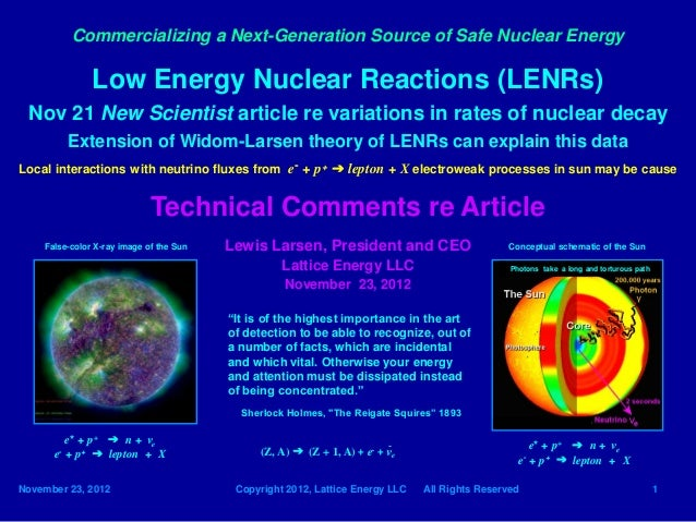 Lattice Energy LLC-Observed Variations in Rates of Nuclear Decay-Nov 23 2012