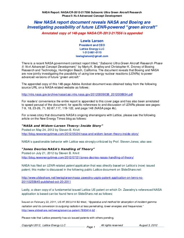 Lattice Energy LLC- Report Reveals Boeing and NASA Investigating LENR-powered Aircraft-Aug 3 2012