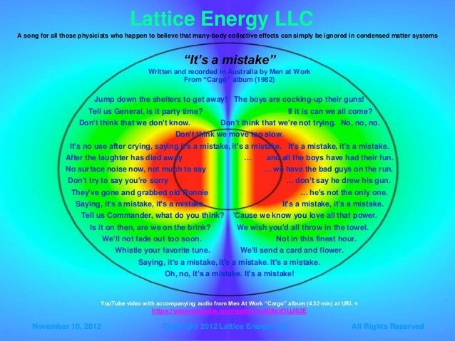 Lattice Energy LLCLattice Energy LLC A song for all those physicists who happen to believe that many-body collective effec...