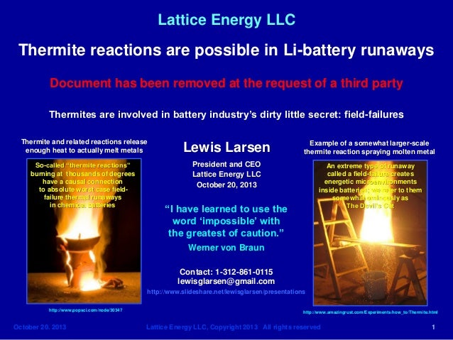 Lattice Energy LLC  Thermite reactions are possible in Li-battery runaways Document has been removed at the request of a t...
