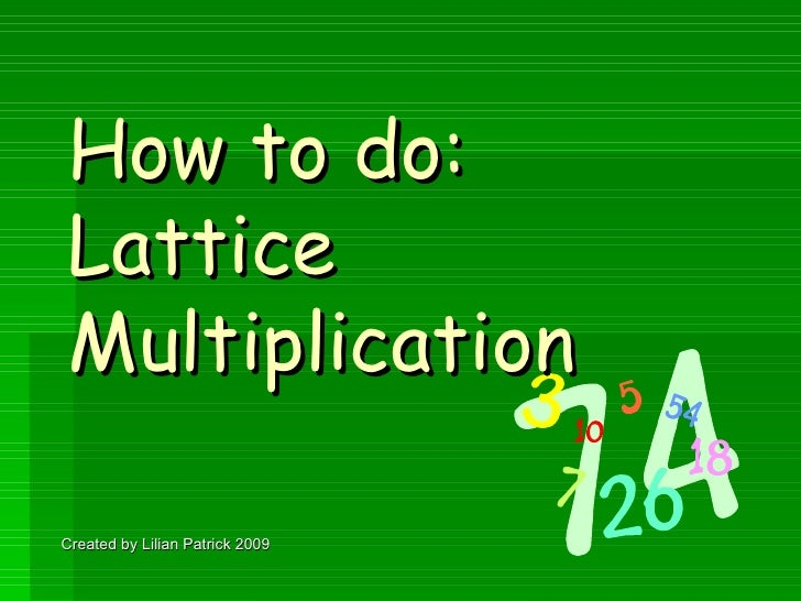 How to do: Lattice Multiplication  Created by Lilian Patrick 2009