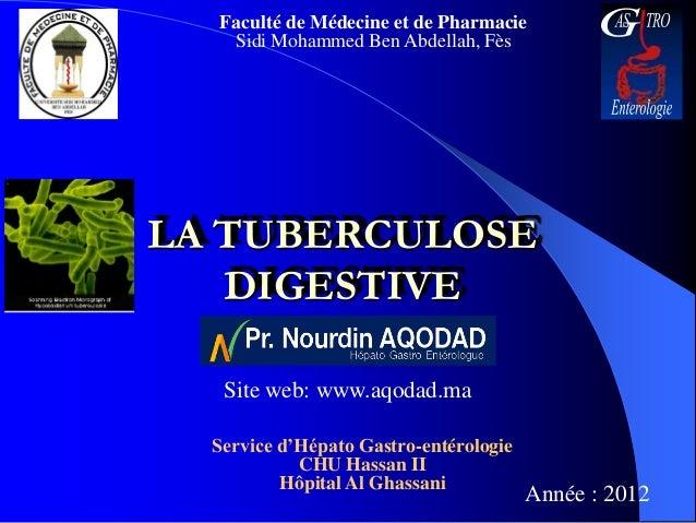 Faculté de Médecine et de Pharmacie   Sidi Mohammed Ben Abdellah, FèsLA TUBERCULOSE   DIGESTIVE   Site web: www.aqodad.ma ...